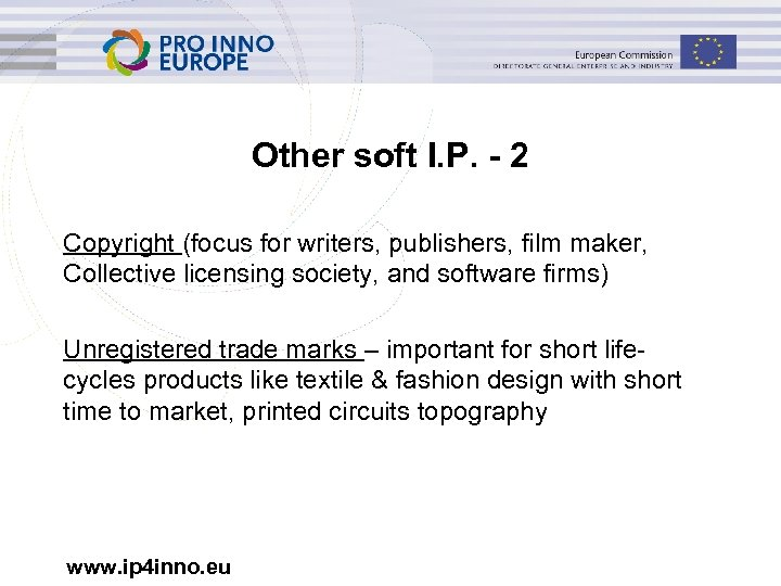 Other soft I. P. - 2 Copyright (focus for writers, publishers, film maker, Collective
