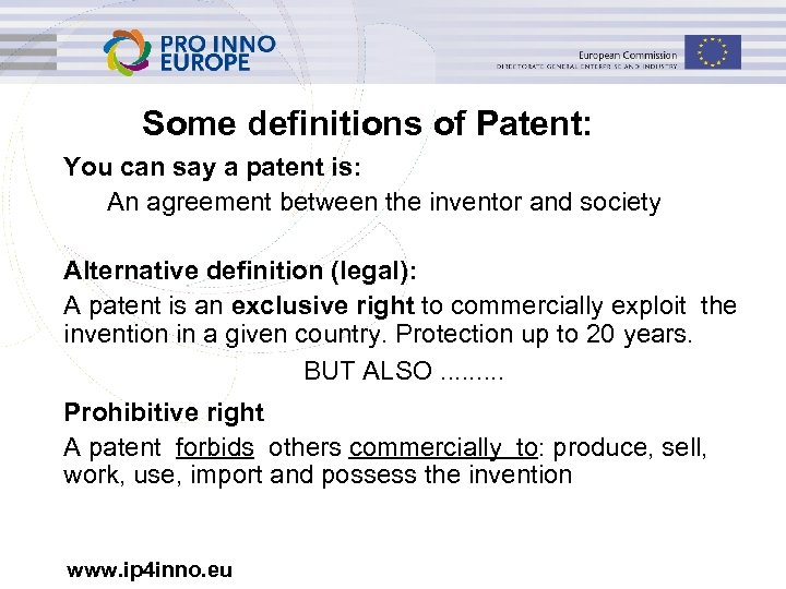 Some definitions of Patent: You can say a patent is: An agreement between the
