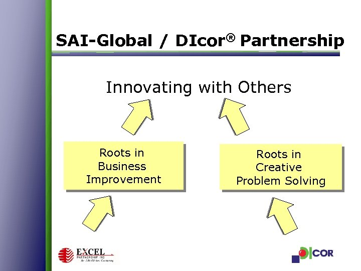 SAI-Global / DIcor® Partnership Innovating with Others Roots in Business Improvement Roots in Creative