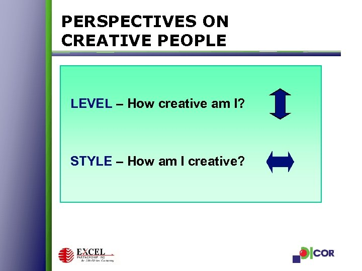 PERSPECTIVES ON CREATIVE PEOPLE LEVEL – How creative am I? STYLE – How am