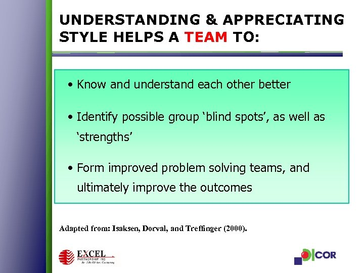 UNDERSTANDING & APPRECIATING STYLE HELPS A TEAM TO: • Know and understand each other