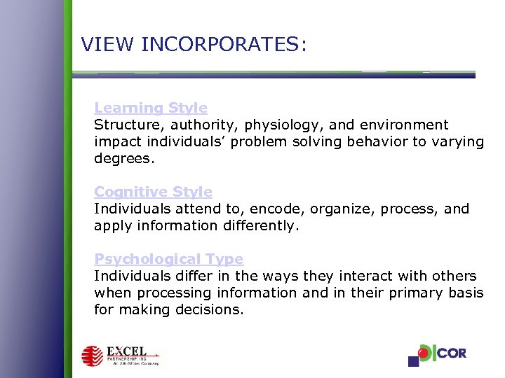 VIEW INCORPORATES: Learning Style Structure, authority, physiology, and environment impact individuals' problem solving behavior