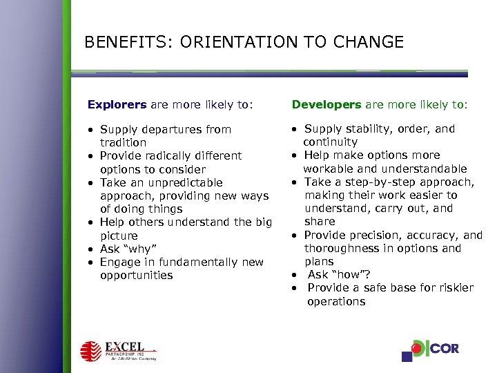 BENEFITS: ORIENTATION TO CHANGE Explorers are more likely to: Developers are more likely to: