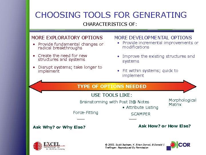 CHOOSING TOOLS FOR GENERATING CHARACTERISTICS OF: MORE EXPLORATORY OPTIONS MORE DEVELOPMENTAL OPTIONS • Provide