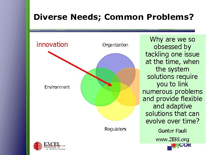 Diverse Needs; Common Problems? innovation Organization Environment Regulators Why are we so obsessed by