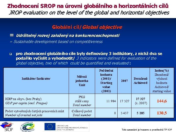 Zhodnocení SROP na úrovni globálního a horizontálních cílů JROP evaluation on the level of