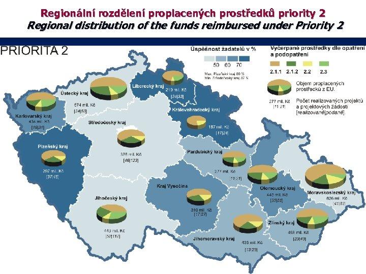 Regionální rozdělení proplacených prostředků priority 2 Regional distribution of the funds reimbursed under Priority