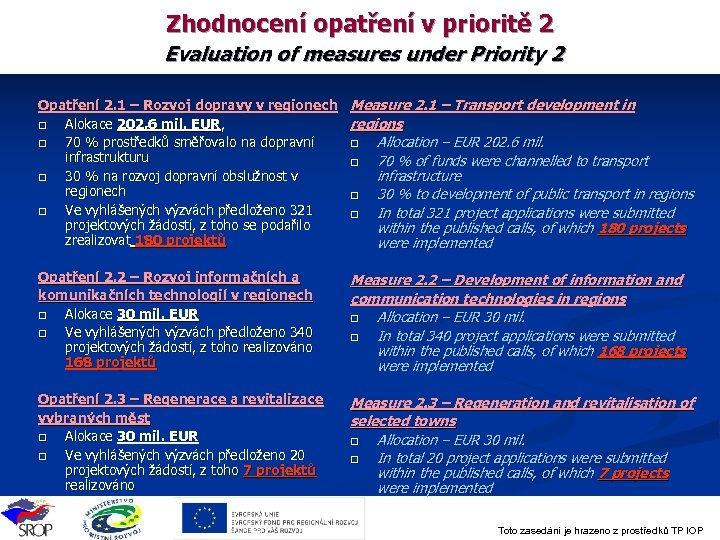 Zhodnocení opatření v prioritě 2 Evaluation of measures under Priority 2 Opatření 2. 1