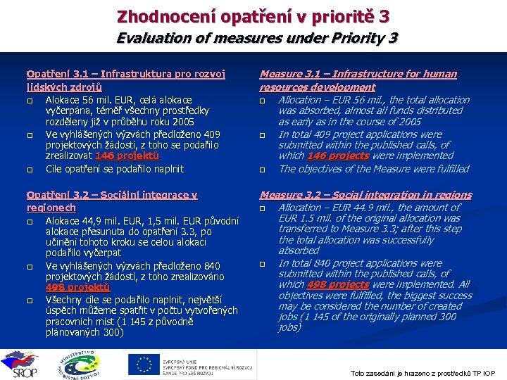 Zhodnocení opatření v prioritě 3 Evaluation of measures under Priority 3 Opatření 3. 1