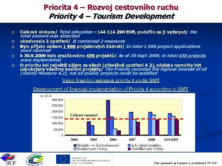Priorita 4 – Rozvoj cestovního ruchu Priority 4 – Tourism Development q q q