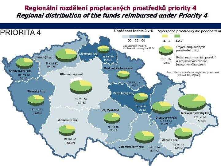 Regionální rozdělení proplacených prostředků priority 4 Regional distribution of the funds reimbursed under Priority