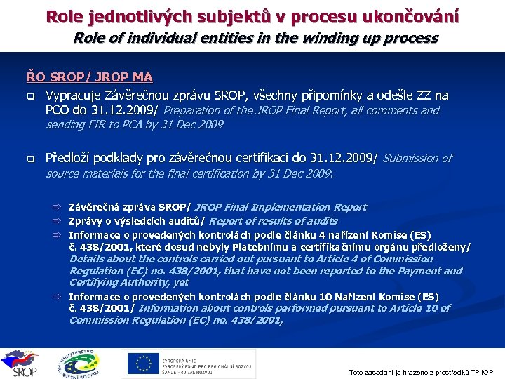 Role jednotlivých subjektů v procesu ukončování Role of individual entities in the winding up