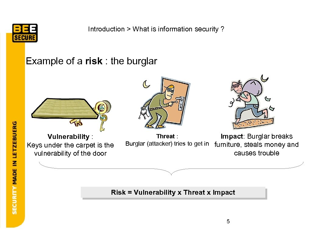 Introduction > What is information security ? Example of a risk : the burglar