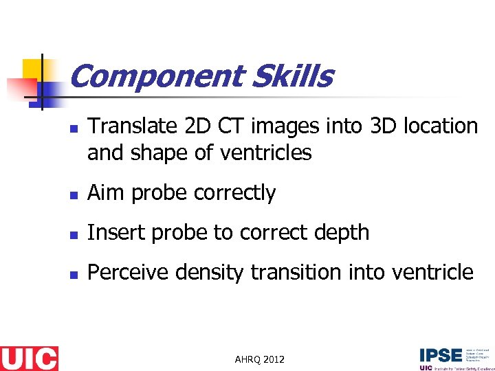 Component Skills n Translate 2 D CT images into 3 D location and shape
