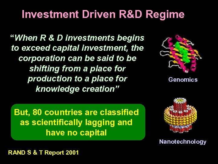 """Investment Driven R&D Regime """"When R & D investments begins to exceed capital investment,"""