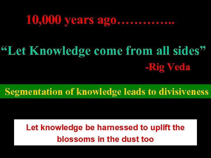 """10, 000 years ago…………. . """"Let Knowledge come from all sides"""" -Rig Veda Segmentation"""