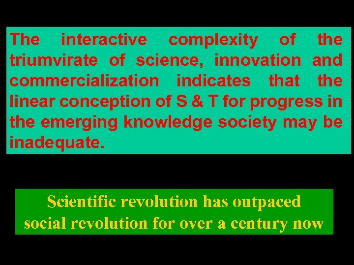 The interactive complexity of the triumvirate of science, innovation and commercialization indicates that the