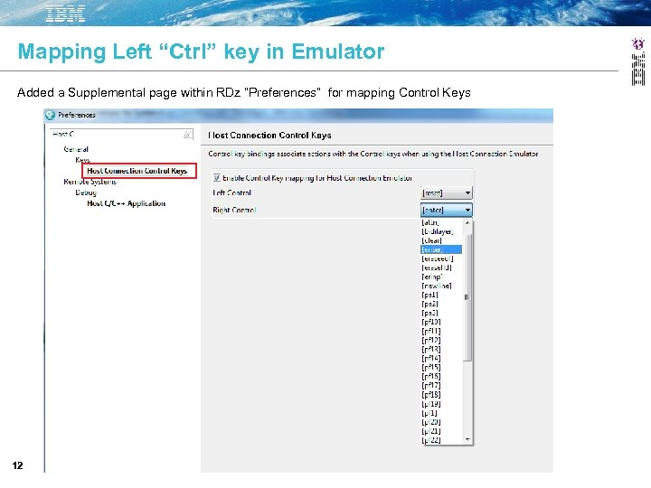 """Mapping Left """"Ctrl"""" key in Emulator Added a Supplemental page within RDz """"Preferences"""" for"""