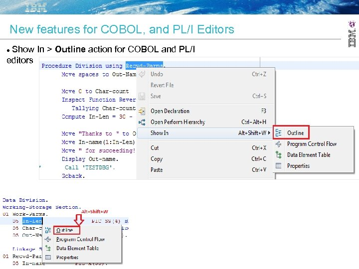 New features for COBOL, and PL/I Editors Show In > Outline action for COBOL