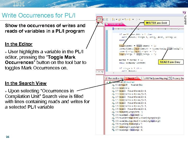Write Occurrences for PL/I Show the occurrences of writes and reads of variables in