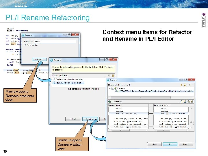 PL/I Rename Refactoring Context menu items for Refactor and Rename in PL/I Editor Preview