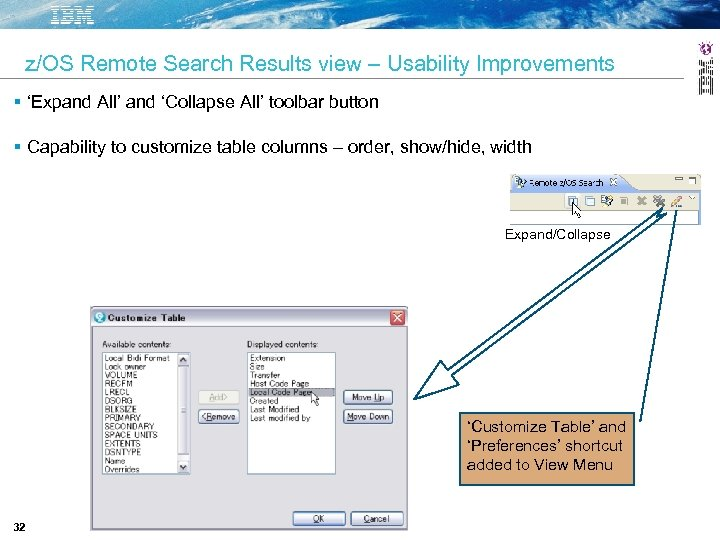 z/OS Remote Search Results view – Usability Improvements 'Expand All' and 'Collapse All' toolbar