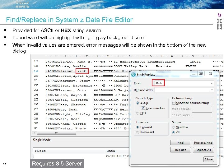 Find/Replace in System z Data File Editor 35 Provided for ASCII or HEX string