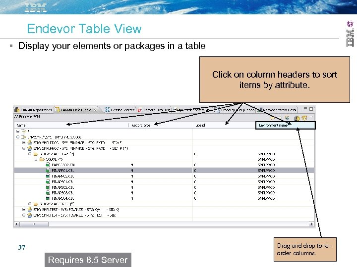 Endevor Table View Display your elements or packages in a table Click on column