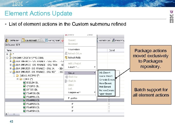 Element Actions Update List of element actions in the Custom submenu refined Package actions