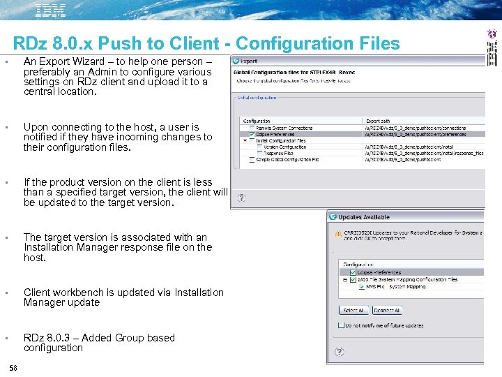 RDz 8. 0. x Push to Client - Configuration Files • An Export Wizard