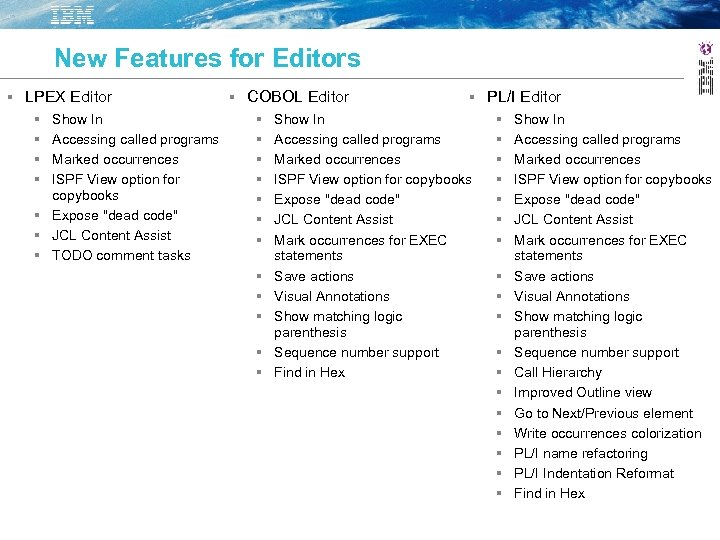 New Features for Editors LPEX Editor COBOL Editor PL/I Editor Show In Accessing called