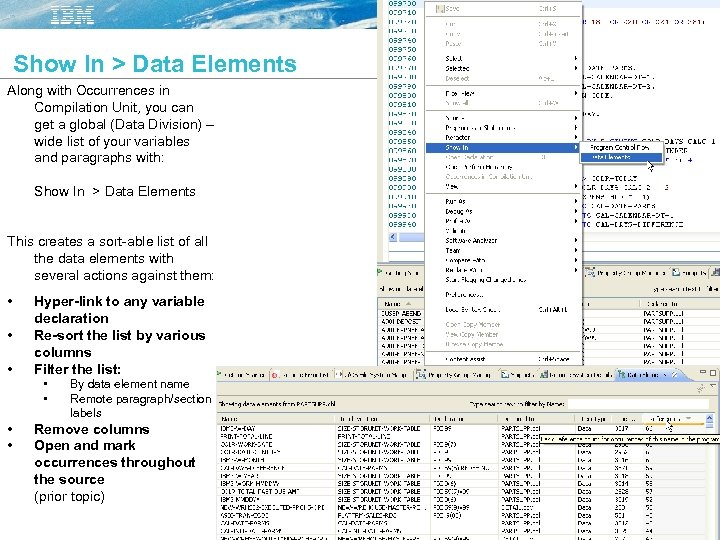 Show In > Data Elements Along with Occurrences in Compilation Unit, you can get