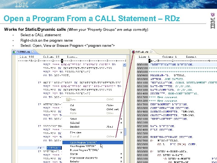 Open a Program From a CALL Statement – RDz Works for Static/Dynamic calls (When