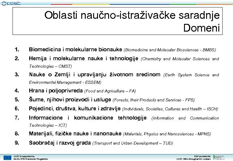 Oblasti naučno-istraživačke saradnje Domeni 1. Biomedicina i molekularne bionauke (Biomedicine and Molecular Biosciences -