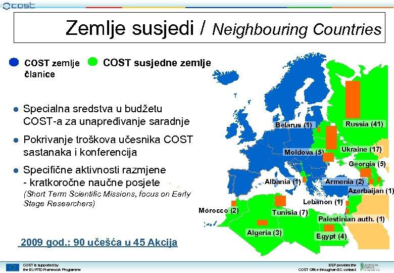 Zemlje susjedi / Neighbouring Countries COST zemlje članice COST susjedne zemlje ● Specialna sredstva