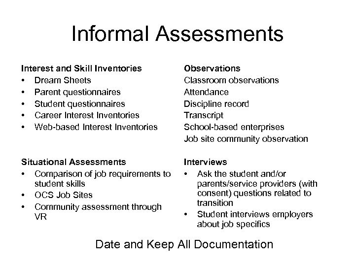 Informal Assessments Interest and Skill Inventories • Dream Sheets • Parent questionnaires • Student
