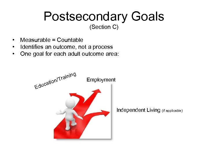 Postsecondary Goals (Section C) • Measurable = Countable • Identifies an outcome, not a