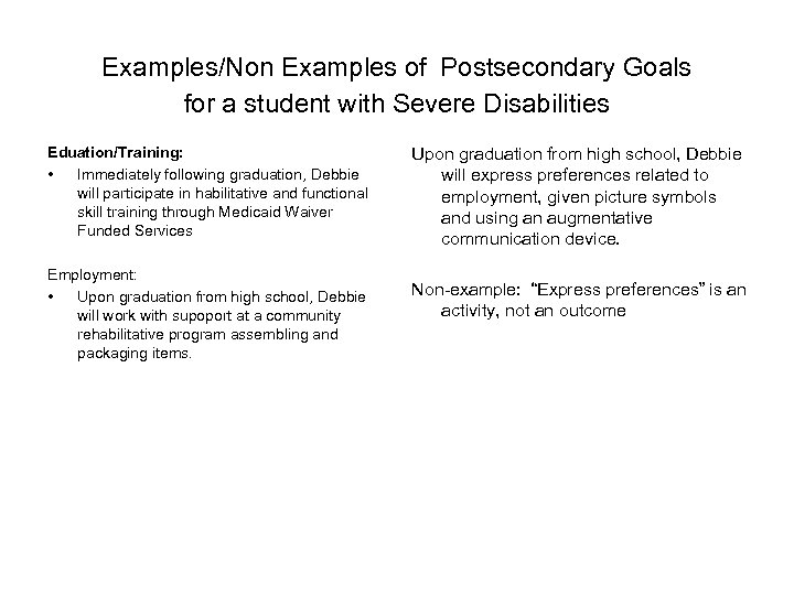 Examples/Non Examples of Postsecondary Goals for a student with Severe Disabilities Eduation/Training: • Immediately