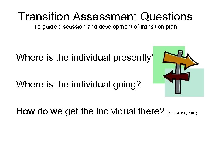 Transition Assessment Questions To guide discussion and development of transition plan Where is the