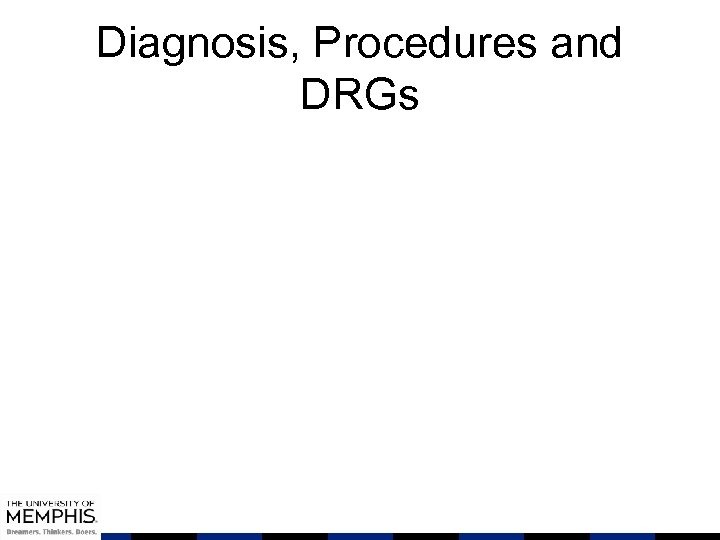 Diagnosis, Procedures and DRGs