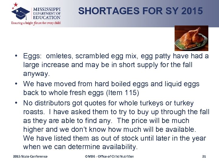 SHORTAGES FOR SY 2015 • Eggs: omletes, scrambled egg mix, egg patty have had
