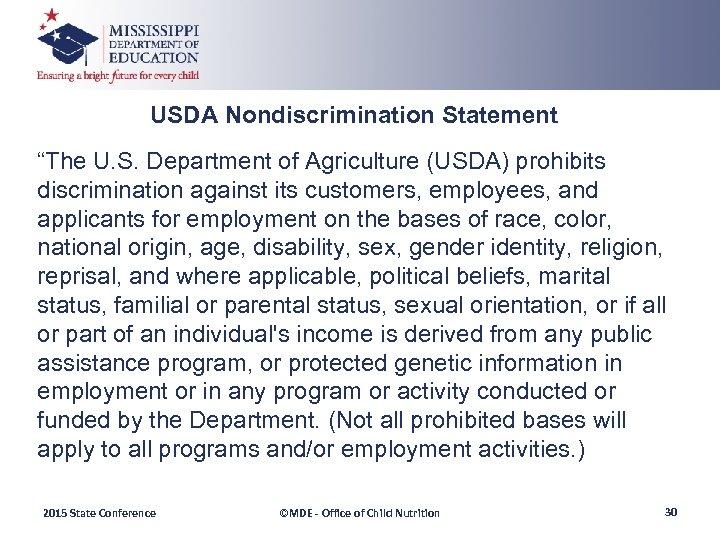 "USDA Nondiscrimination Statement ""The U. S. Department of Agriculture (USDA) prohibits discrimination against its"
