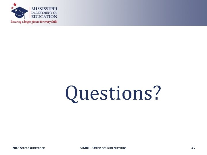Questions? 2015 State Conference ©MDE - Office of Child Nutrition 33