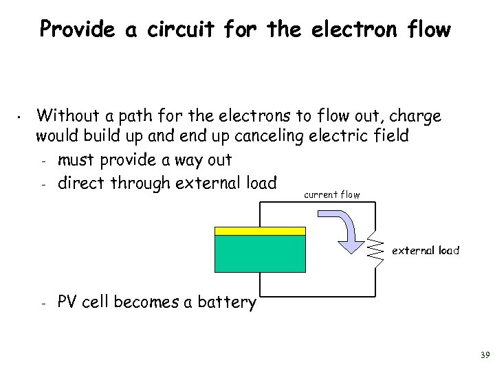 Provide a circuit for the electron flow • Without a path for the electrons