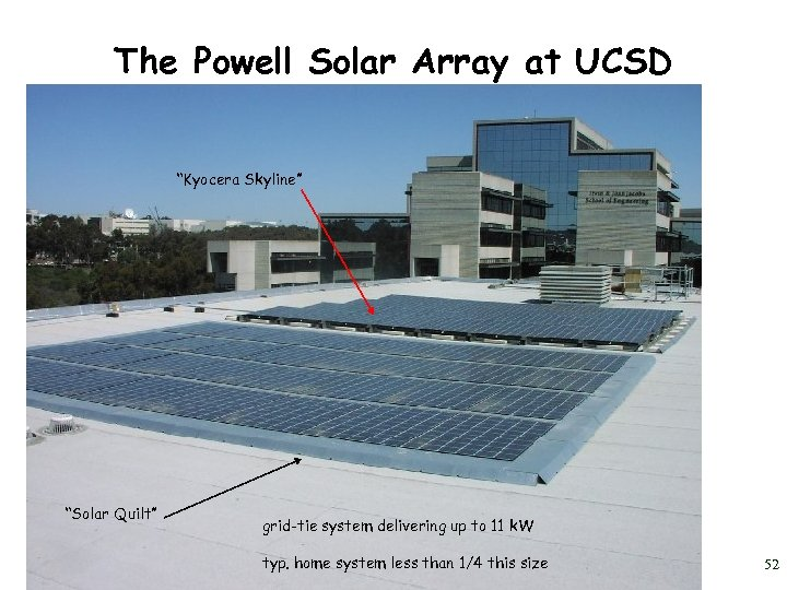 "The Powell Solar Array at UCSD ""Kyocera Skyline"" ""Solar Quilt"" grid-tie system delivering up"