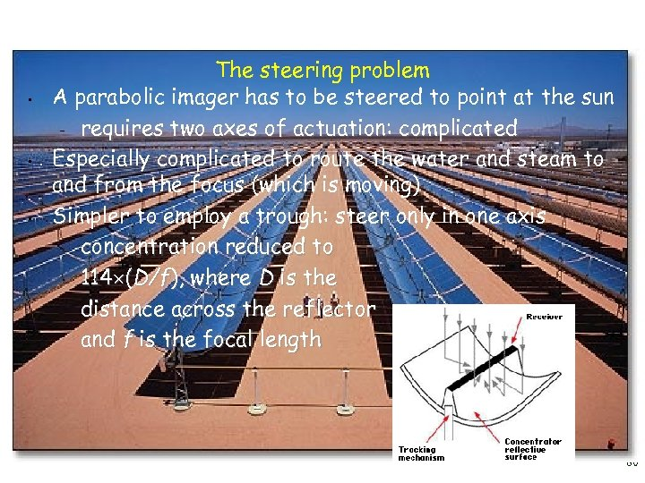 • • • The steering problem A parabolic imager has to be steered
