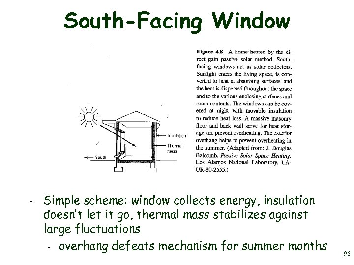 South-Facing Window • Simple scheme: window collects energy, insulation doesn't let it go, thermal
