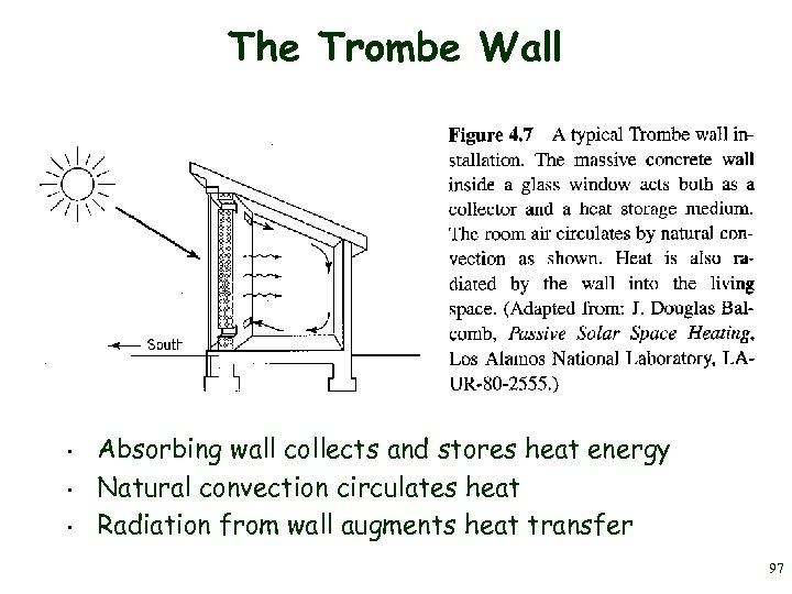 The Trombe Wall • • • Absorbing wall collects and stores heat energy Natural