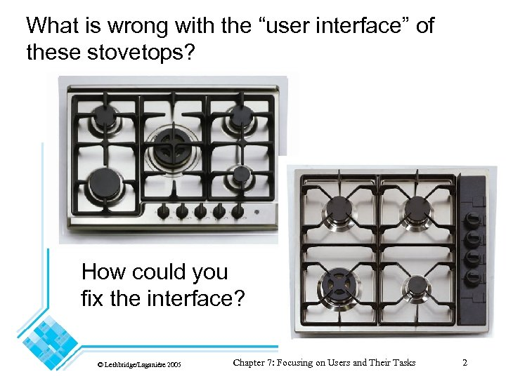 """What is wrong with the """"user interface"""" of these stovetops? How could you fix"""
