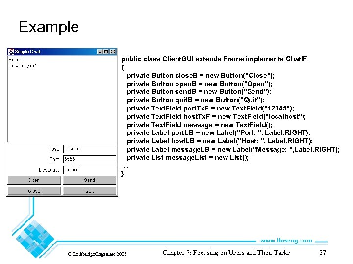 Example public class Client. GUI extends Frame implements Chat. IF { private Button close.